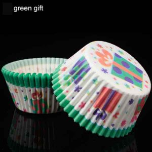 100Pcs/pack Green Gift Cake Muffin Cupcake Paper Cups