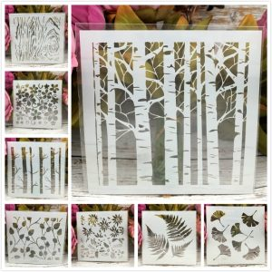 8Pcs/Set 13cm Tree Leaf Gingko DIY Layering Stencils